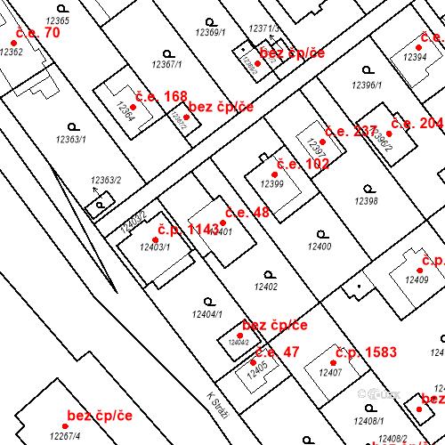 Katastrální mapa Stavební objekt Severní Předměstí 48, Plzeň
