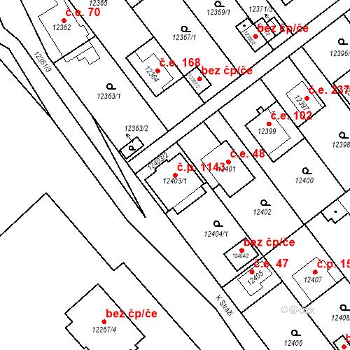 Katastrální mapa Stavební objekt Severní Předměstí 1143, Plzeň