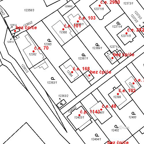 Katastrální mapa Stavební objekt Severní Předměstí 168, Plzeň