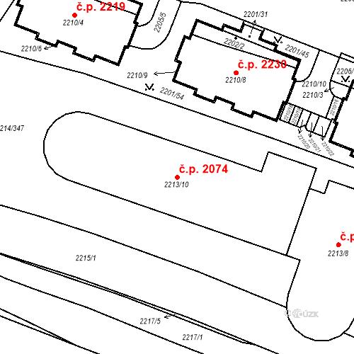 Katastrální mapa Stavební objekt Bolevec 2074, Plzeň