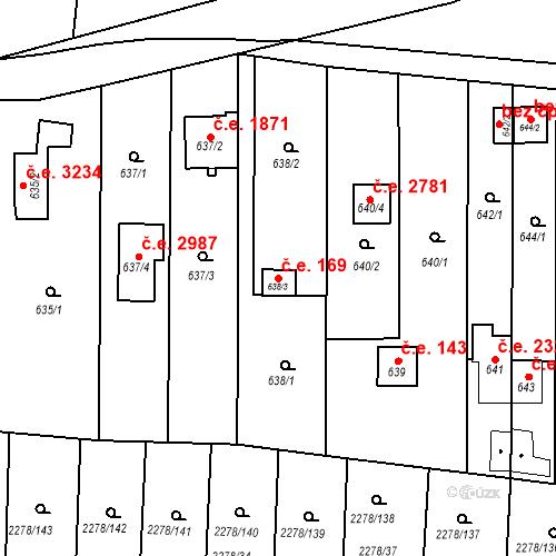 Katastrální mapa Stavební objekt Severní Předměstí 169, Plzeň