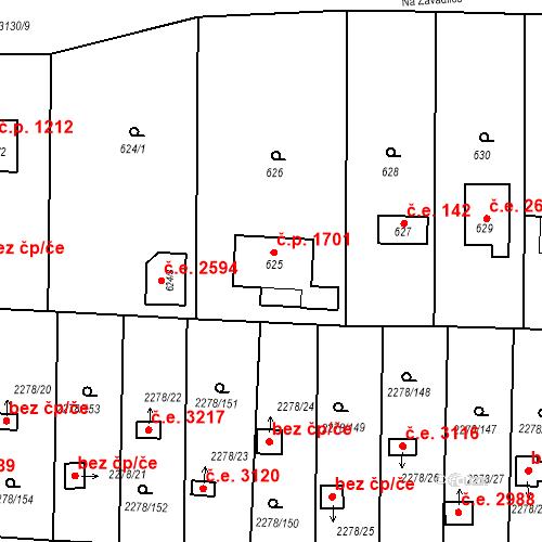 Katastrální mapa Stavební objekt Severní Předměstí 195, Plzeň