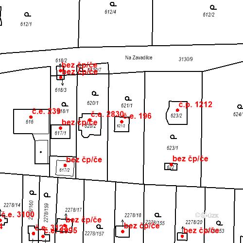 Katastrální mapa Stavební objekt Severní Předměstí 196, Plzeň