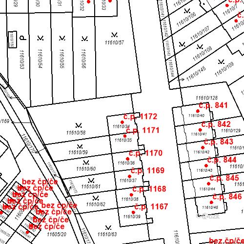 Katastrální mapa Stavební objekt Severní Předměstí 1172, Plzeň