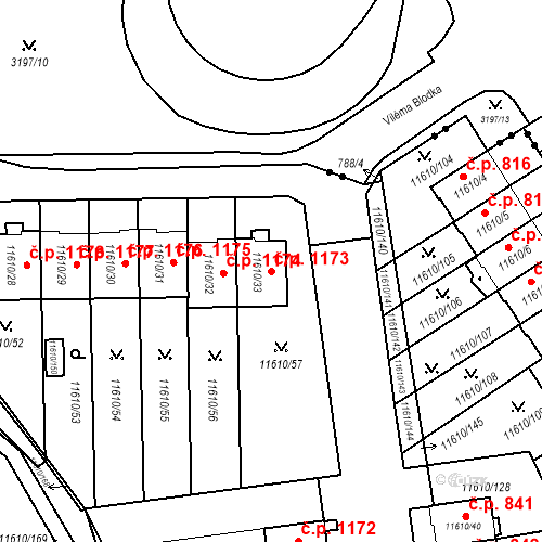 Katastrální mapa Stavební objekt Severní Předměstí 1173, Plzeň