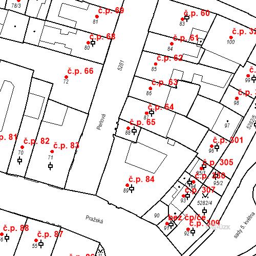 Katastrální mapa Stavební objekt Vnitřní Město 65, Plzeň