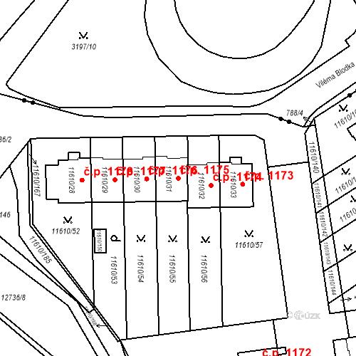 Katastrální mapa Stavební objekt Severní Předměstí 1175, Plzeň