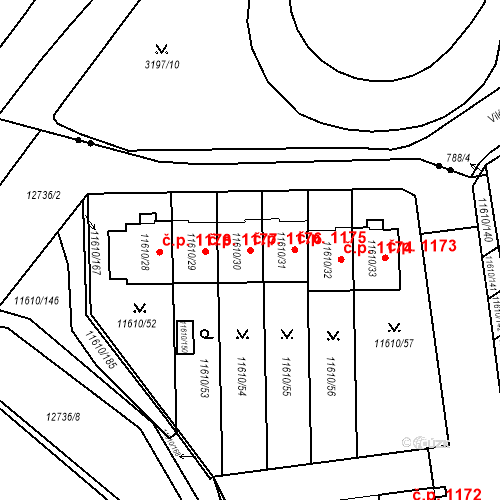 Katastrální mapa Stavební objekt Severní Předměstí 1176, Plzeň