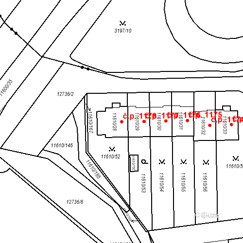 Katastrální mapa Stavební objekt Severní Předměstí 1178, Plzeň