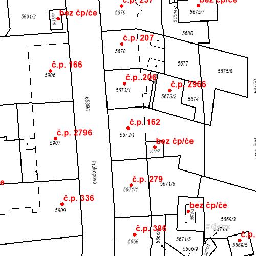 Katastrální mapa Stavební objekt Jižní Předměstí 162, Plzeň