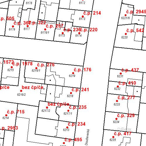 Katastrální mapa Stavební objekt Jižní Předměstí 176, Plzeň