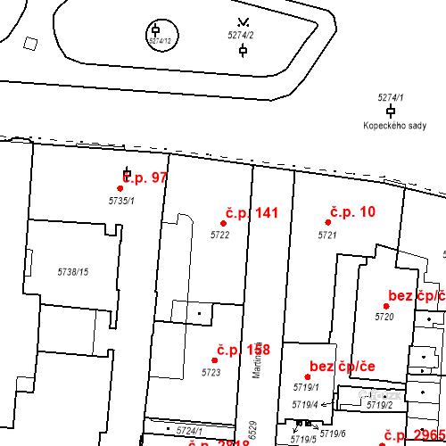 Katastrální mapa Stavební objekt Jižní Předměstí 141, Plzeň