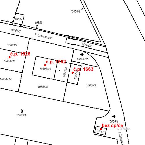Katastrální mapa Stavební objekt Severní Předměstí 1663, Plzeň