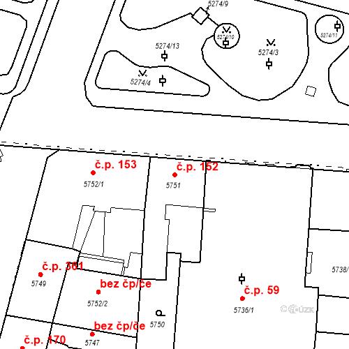 Katastrální mapa Stavební objekt Jižní Předměstí 152, Plzeň