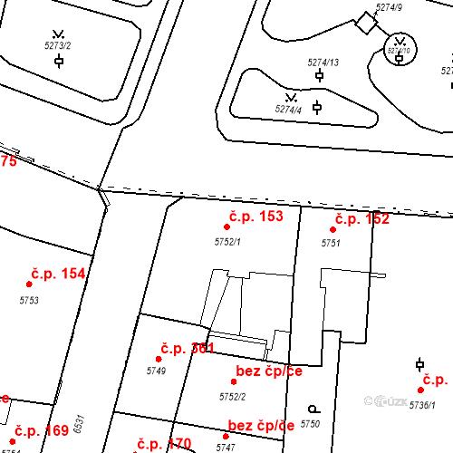 Katastrální mapa Stavební objekt Jižní Předměstí 153, Plzeň