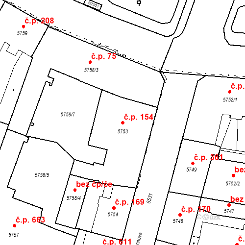 Katastrální mapa Stavební objekt Jižní Předměstí 154, Plzeň