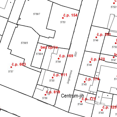 Katastrální mapa Stavební objekt Jižní Předměstí 169, Plzeň