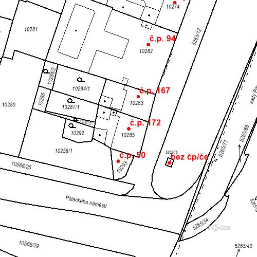Katastrální mapa Stavební objekt Jižní Předměstí 172, Plzeň