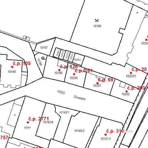 Katastrální mapa Stavební objekt Jižní Předměstí 151, Plzeň