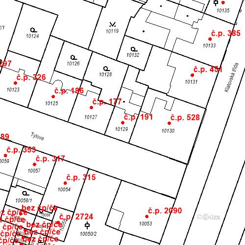 Katastrální mapa Stavební objekt Jižní Předměstí 191, Plzeň