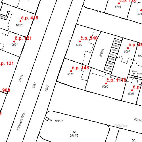 Katastrální mapa Stavební objekt Jižní Předměstí 145, Plzeň