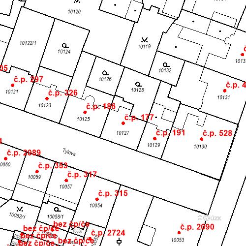 Katastrální mapa Stavební objekt Jižní Předměstí 177, Plzeň
