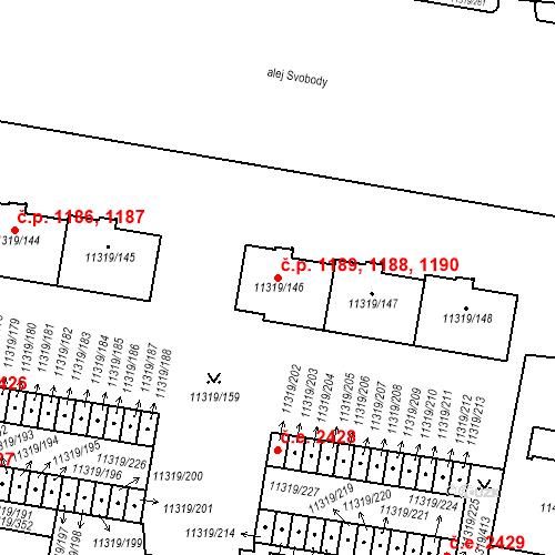 Katastrální mapa Stavební objekt Severní Předměstí 1188, 1189, 1190, Plzeň