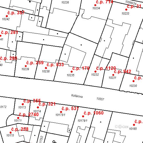 Katastrální mapa Stavební objekt Jižní Předměstí 179, Plzeň