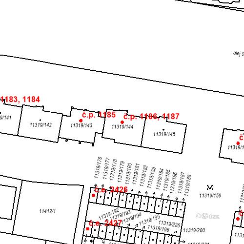 Katastrální mapa Stavební objekt Severní Předměstí 1186, 1187, Plzeň