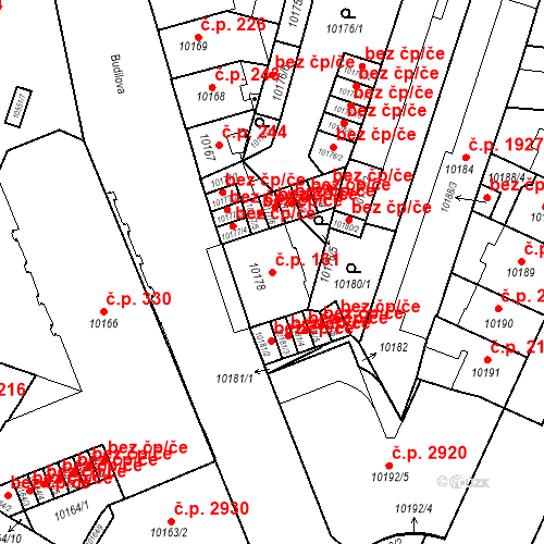 Katastrální mapa Stavební objekt Jižní Předměstí 161, Plzeň