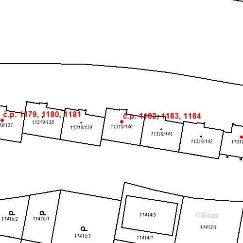 Katastrální mapa Stavební objekt Severní Předměstí 1182, 1183, 1184, Plzeň