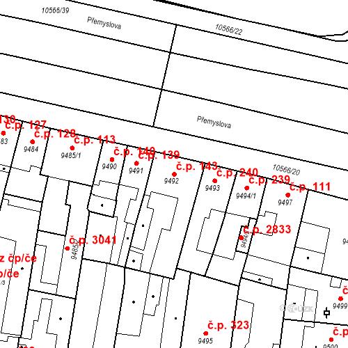 Katastrální mapa Stavební objekt Jižní Předměstí 143, Plzeň