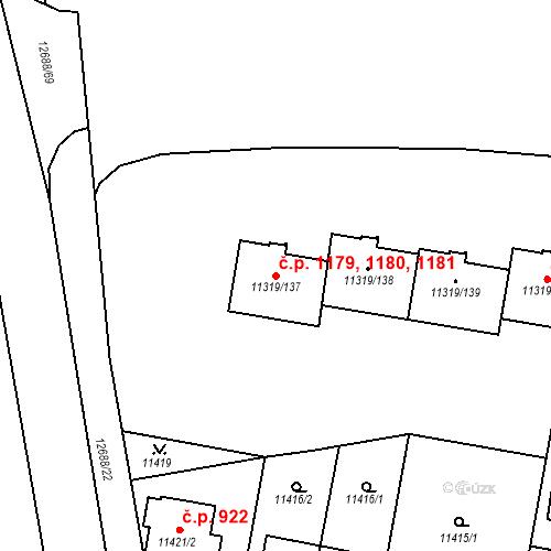 Katastrální mapa Stavební objekt Severní Předměstí 1179, 1180, 1181, Plzeň