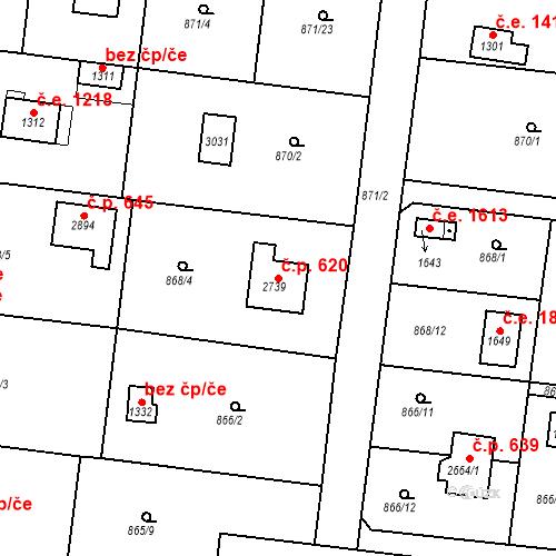 Katastrální mapa Stavební objekt Litice 620, Plzeň