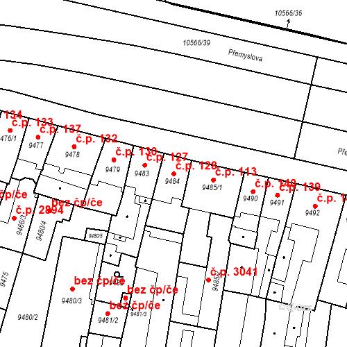 Katastrální mapa Stavební objekt Jižní Předměstí 128, Plzeň