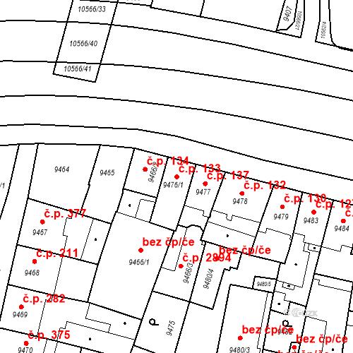 Katastrální mapa Stavební objekt Jižní Předměstí 133, Plzeň