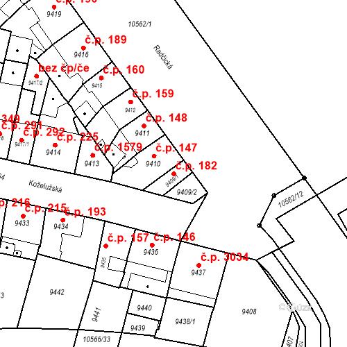 Katastrální mapa Stavební objekt Jižní Předměstí 182, Plzeň
