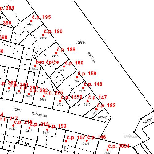 Katastrální mapa Stavební objekt Jižní Předměstí 159, Plzeň