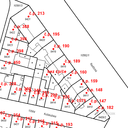 Katastrální mapa Stavební objekt Jižní Předměstí 189, Plzeň