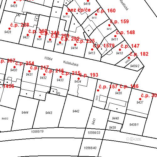 Katastrální mapa Stavební objekt Jižní Předměstí 193, Plzeň