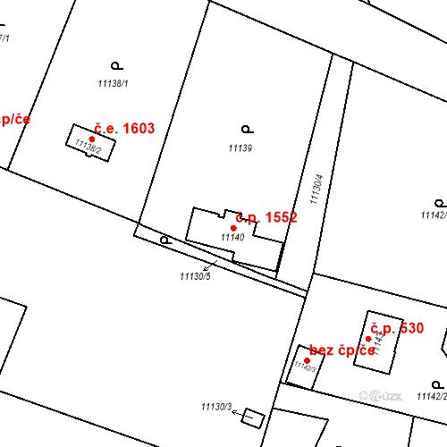 Katastrální mapa Stavební objekt Severní Předměstí 1552, Plzeň