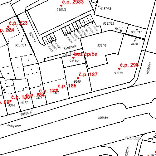 Katastrální mapa Stavební objekt Jižní Předměstí 187, Plzeň