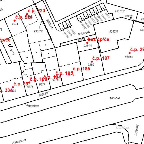 Katastrální mapa Stavební objekt Jižní Předměstí 185, Plzeň