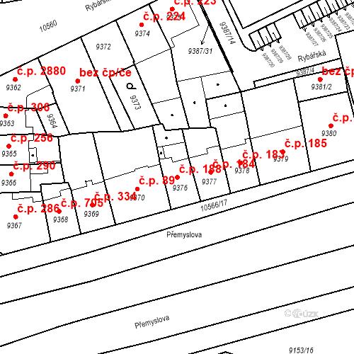 Katastrální mapa Stavební objekt Jižní Předměstí 188, Plzeň