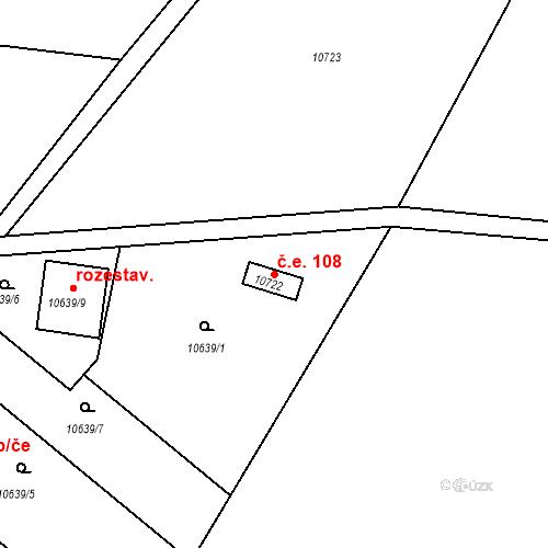 Katastrální mapa Stavební objekt Severní Předměstí 108, Plzeň
