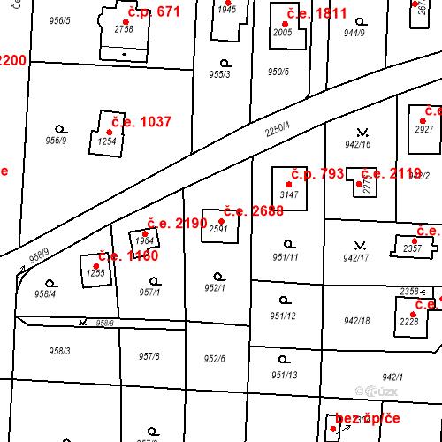 Katastrální mapa Stavební objekt Litice 2688, Plzeň