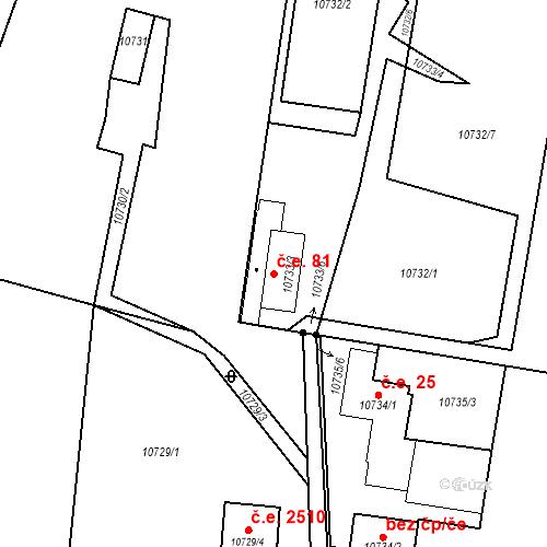 Katastrální mapa Stavební objekt Severní Předměstí 81, Plzeň