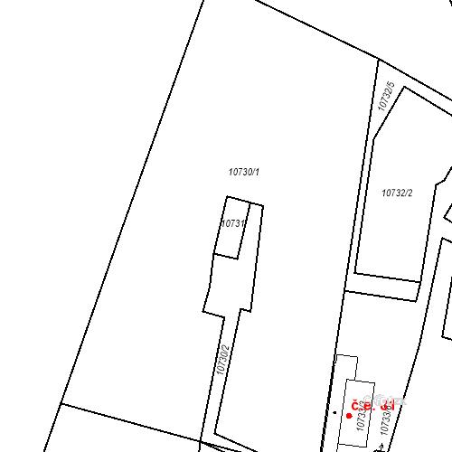 Katastrální mapa Stavební objekt Severní Předměstí 163, Plzeň