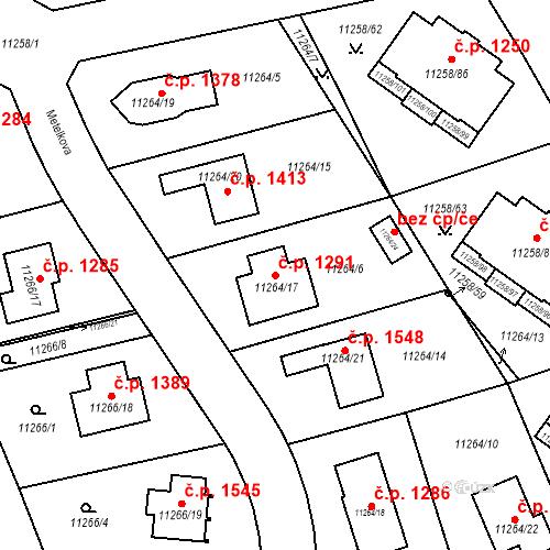Katastrální mapa Stavební objekt Severní Předměstí 1291, Plzeň