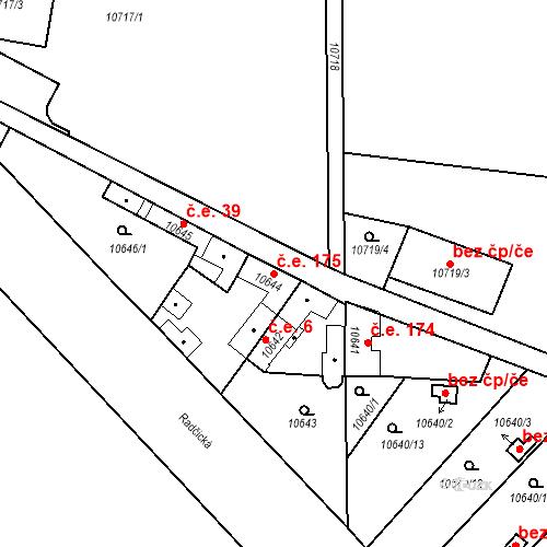 Katastrální mapa Stavební objekt Severní Předměstí 175, Plzeň